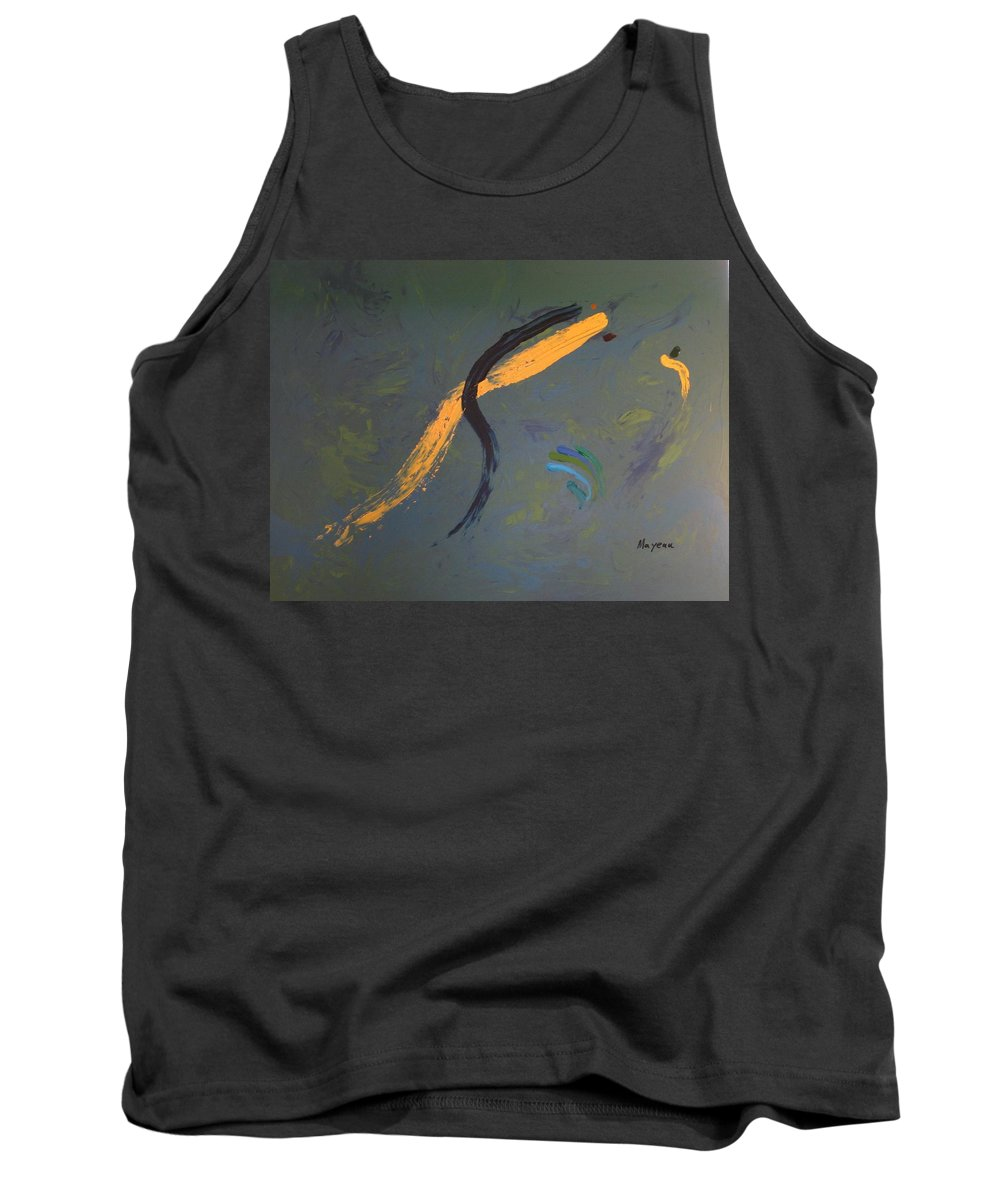 Abstract Tank Top featuring the painting Why So Sad... Pretty Girl by David Mayeau