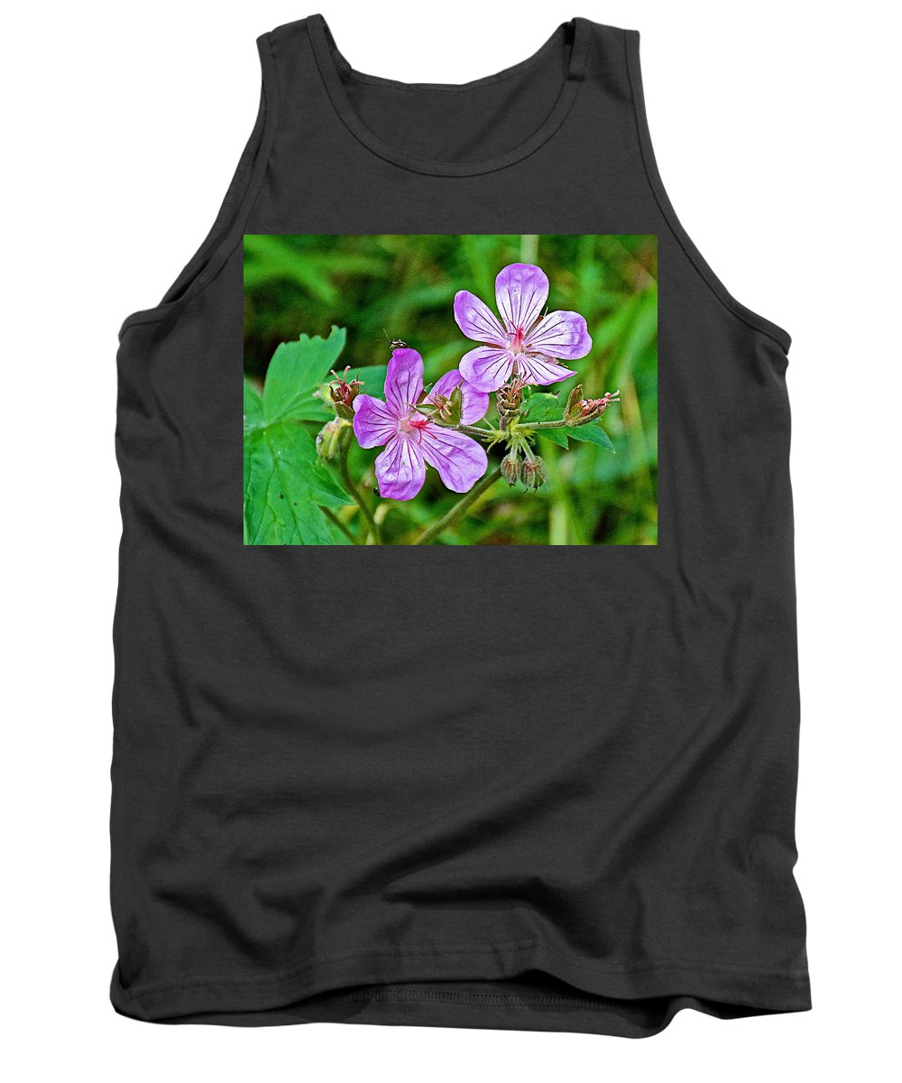 Wild Geranium On Trail To Swan Lake In Grand Teton National Park Tank Top featuring the photograph Wild Geranium On Trail To Swan Lake In Grand Teton National Park-wyoming by Ruth Hager