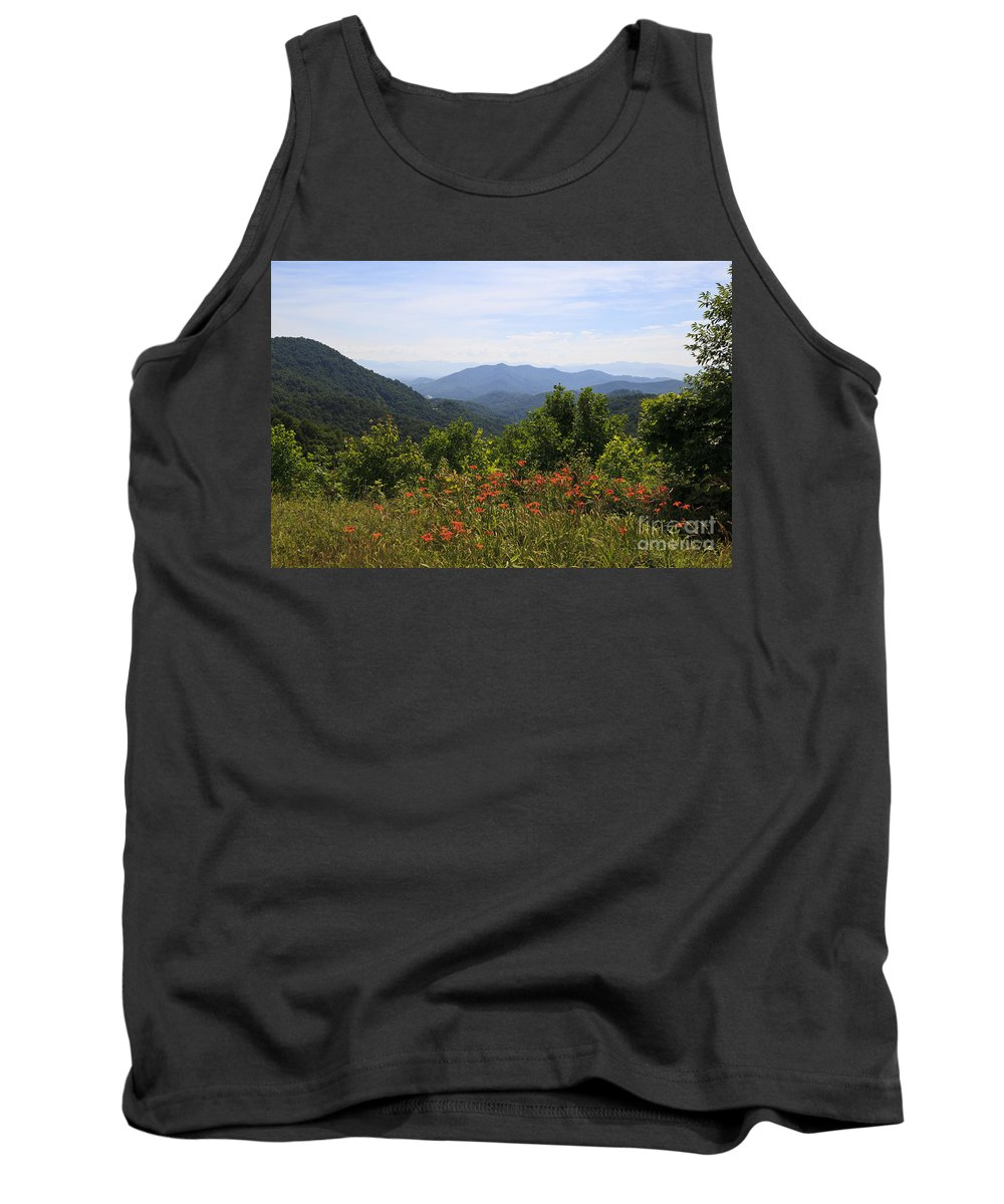 Blue Tank Top featuring the photograph Wild Lilies With A Mountain View by Jill Lang