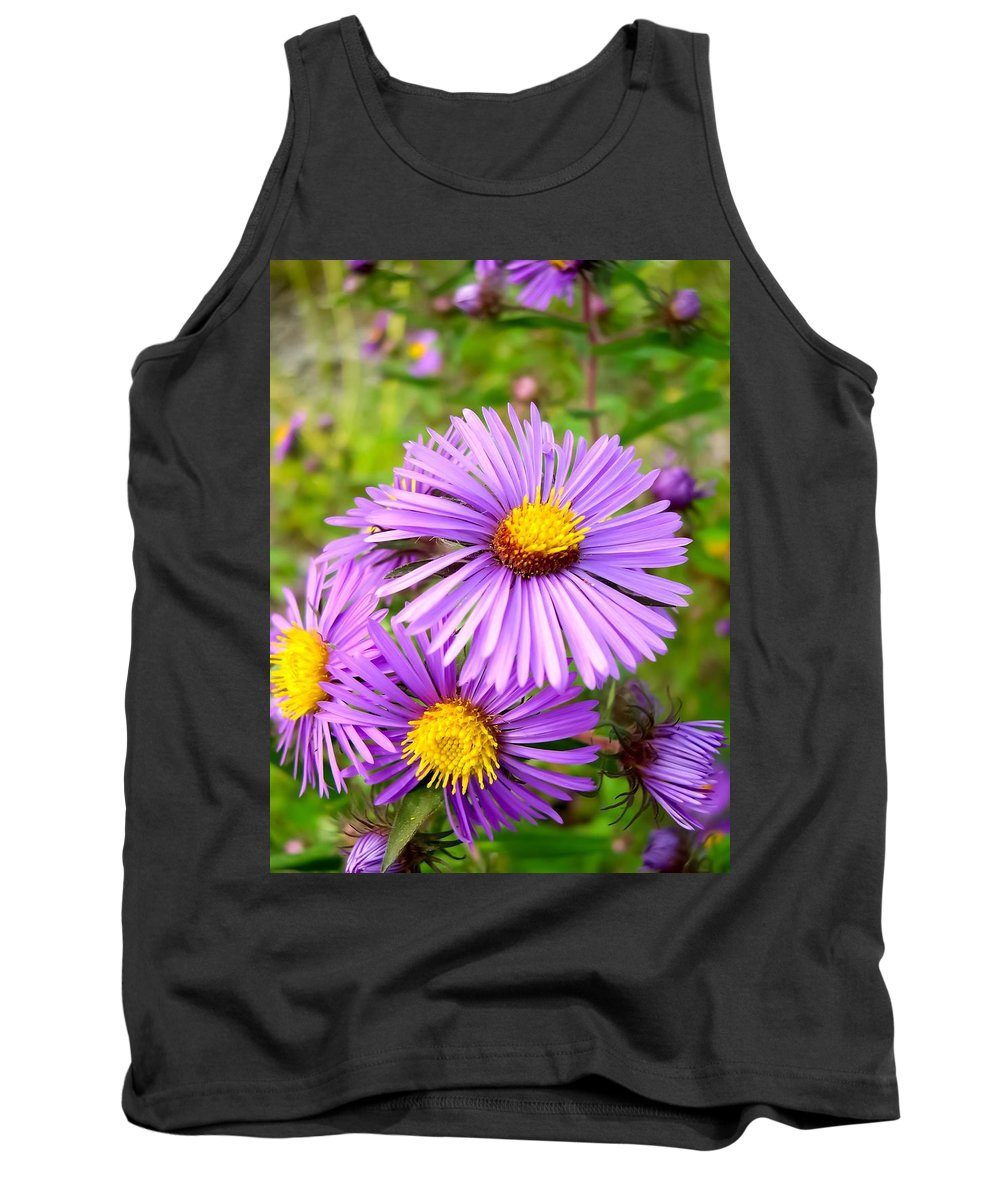 Wild Purple Asters Tank Top featuring the photograph Wild Purple Asters by Cynthia Woods