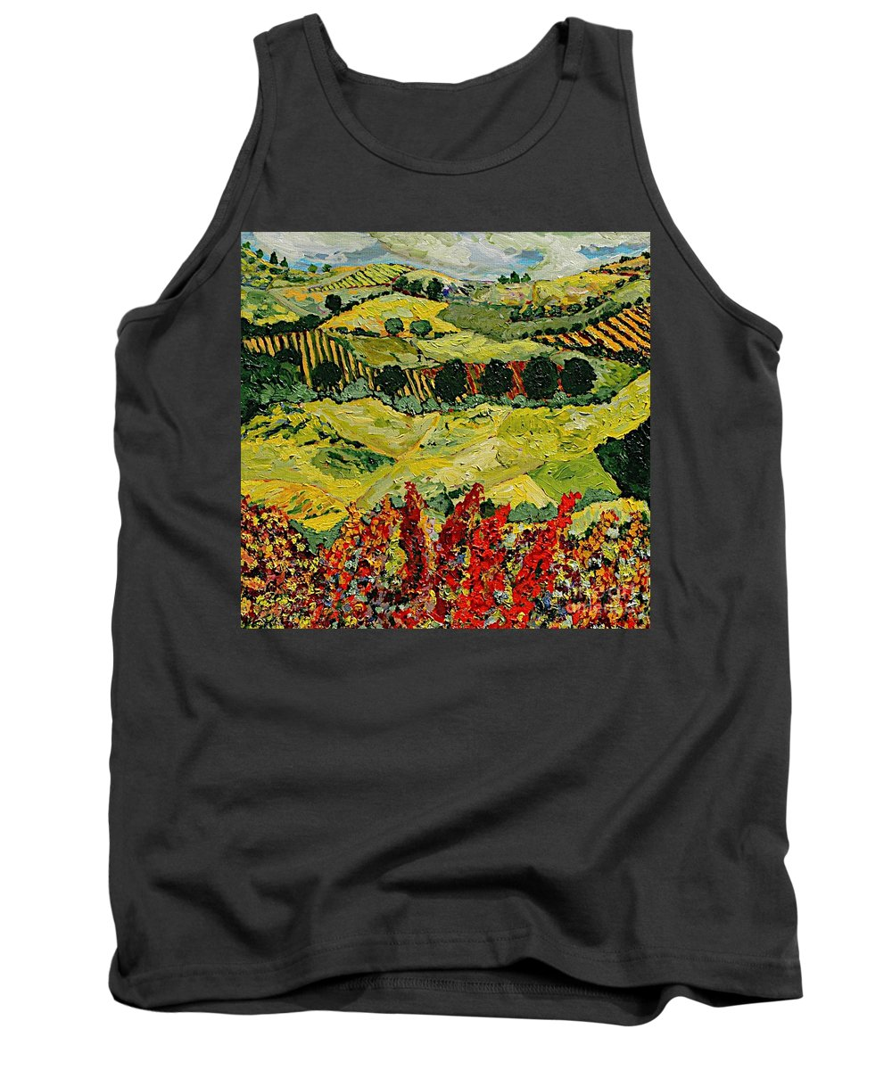 Landscape Tank Top featuring the painting Wildflower Jungle by Allan P Friedlander
