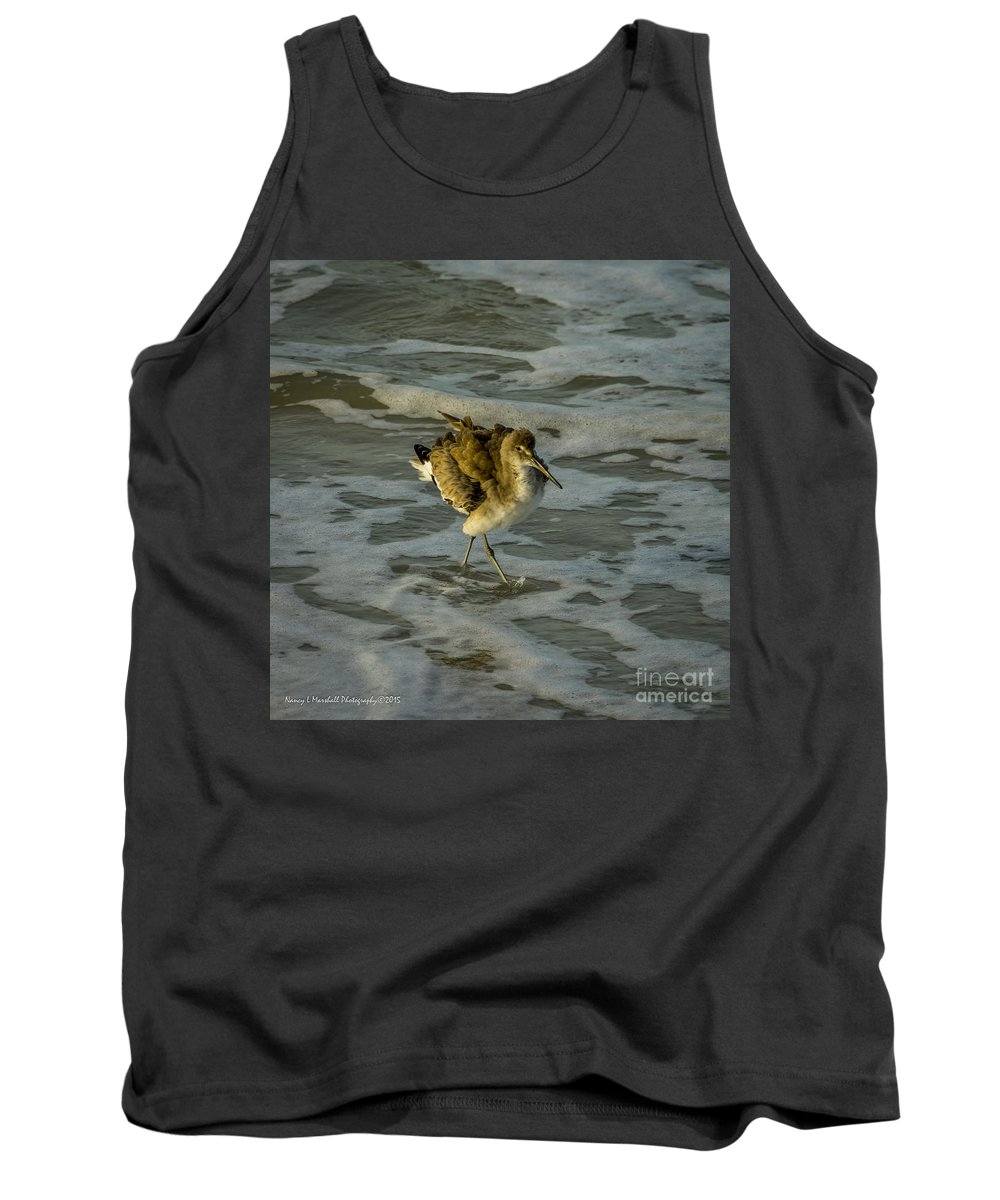 Avian Tank Top featuring the photograph Willet Washing 1 by Nancy L Marshall