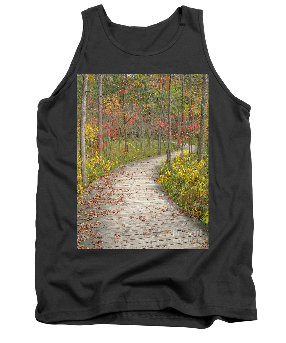 Autumn Tank Top featuring the photograph Winding Woods Walk by Ann Horn