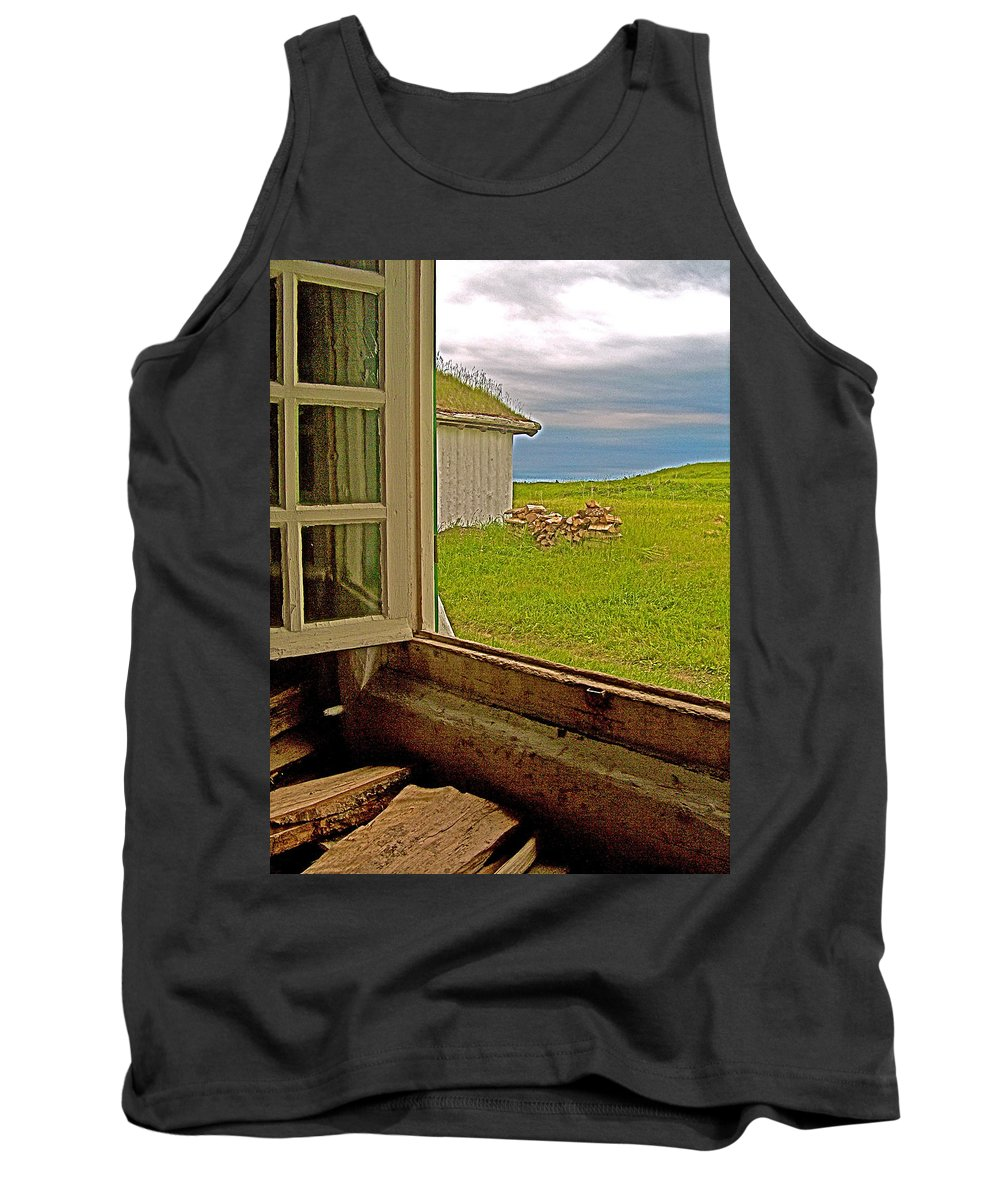 Window On Sod-covered Roof In Louisbourg Living History Museum Tank Top featuring the photograph Window On Sod-covered Roof In Louisbourg Living History Museum-1744-ns by Ruth Hager