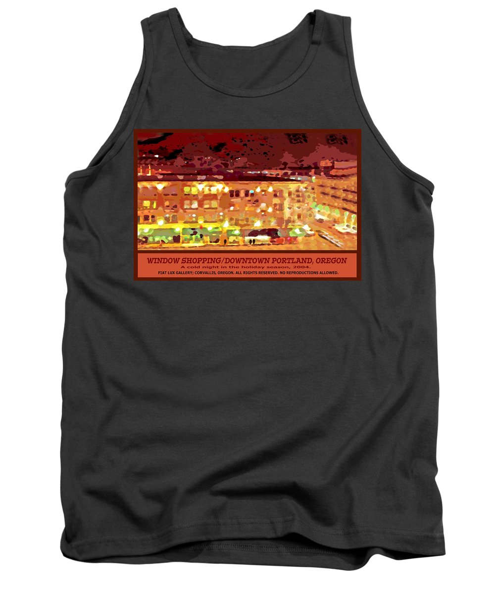Portland Tank Top featuring the digital art Window Shopping Holiday Season by Michael Moore