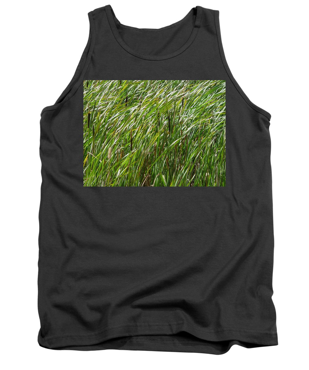 Nature Tank Top featuring the photograph Windswept Cattails by Noa Mohlabane