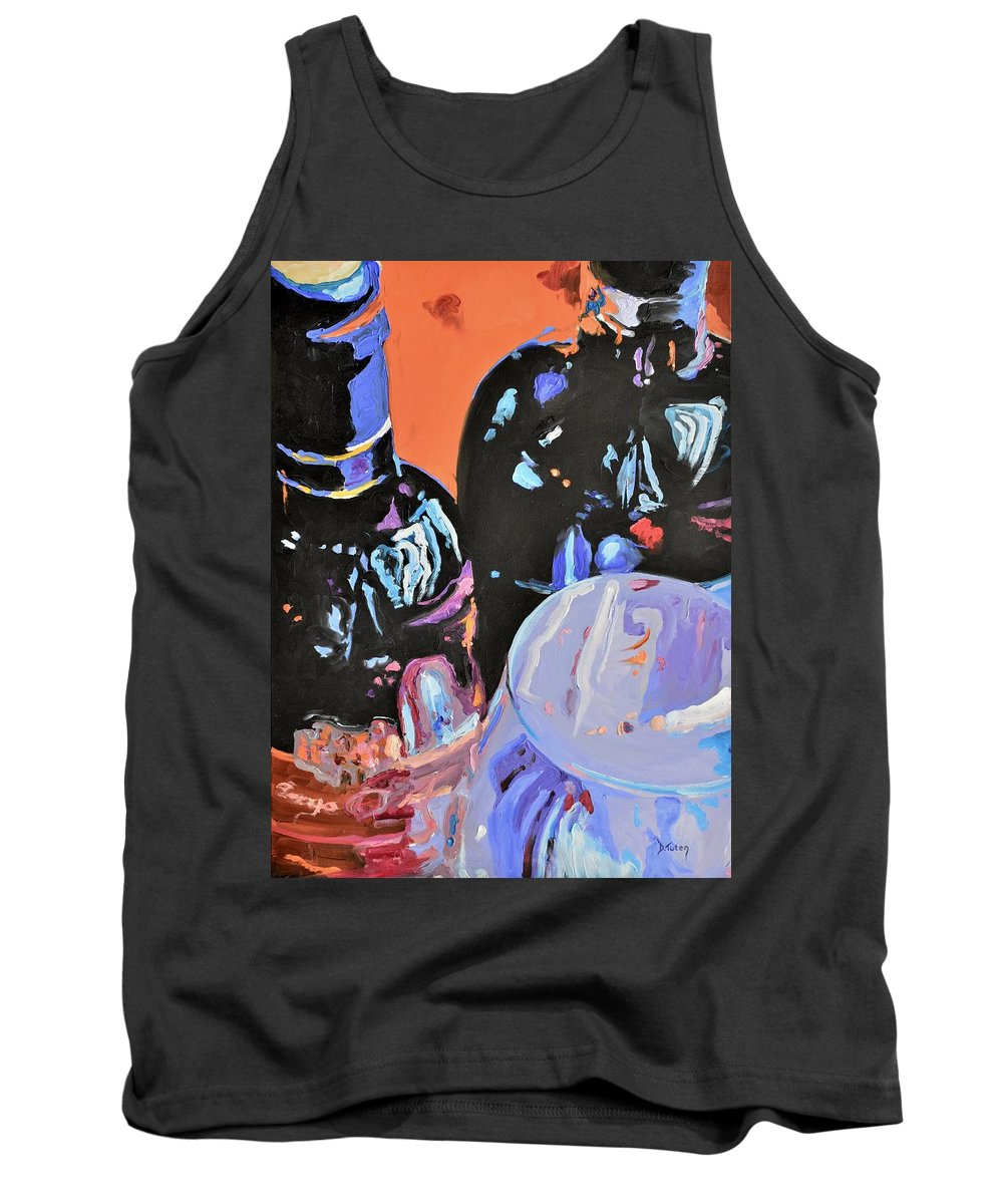 Wine Tank Top featuring the painting Wine Party by Donna Tuten
