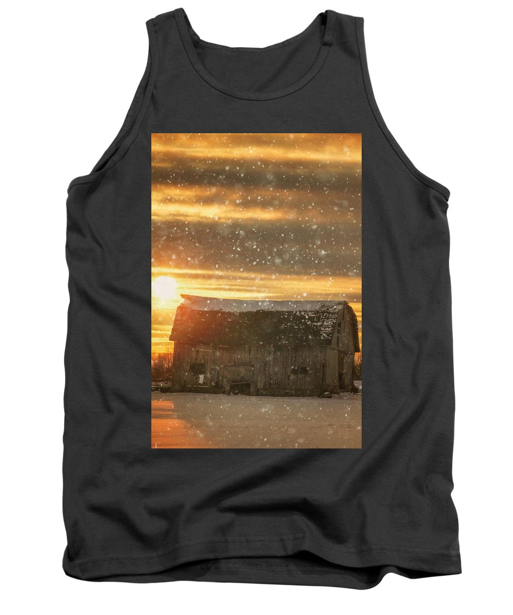 Winter Tank Top featuring the photograph Winter Barn At Sunset by Carrie Ann Grippo-Pike
