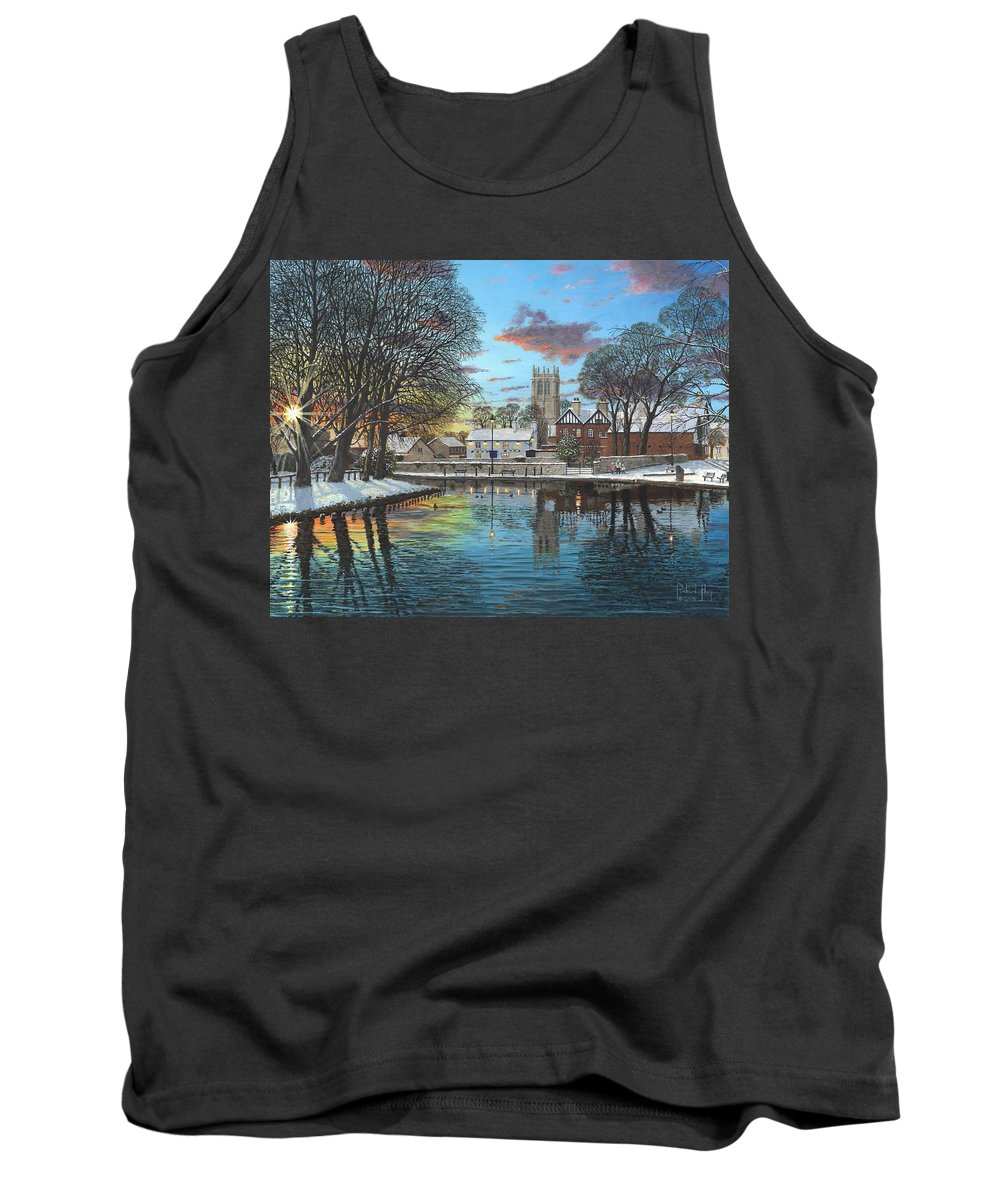 Tickhill Tank Top featuring the painting Winter Evening Tickhill Yorkshire by Richard Harpum