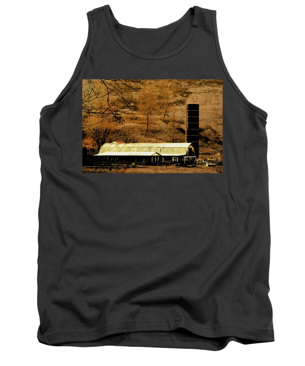 Winter Morning At The Cattle Farm Tank Top featuring the photograph Winter Morning At The Cattle Farm by Chastity Hoff