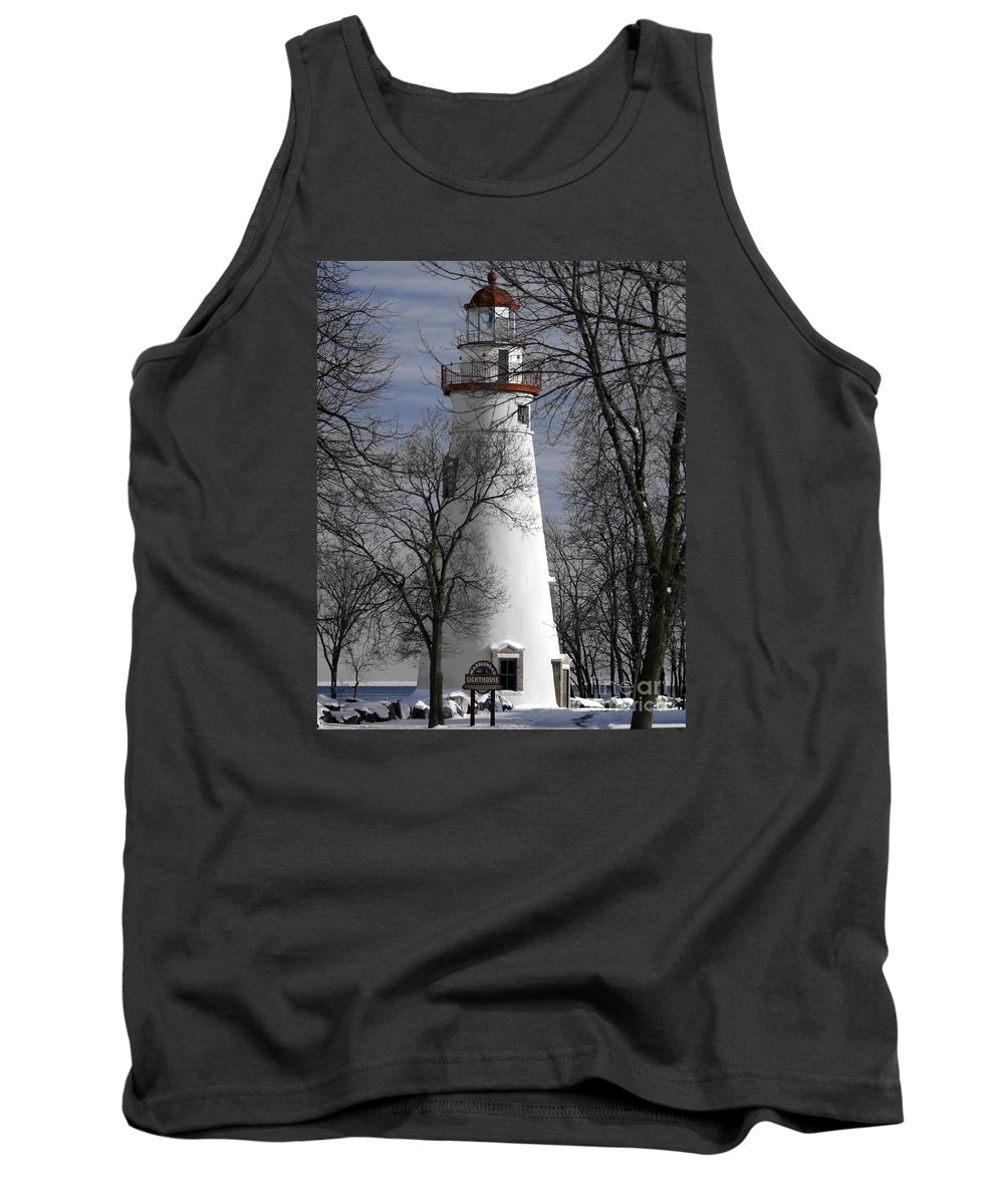 Lighthouse Tank Top featuring the photograph Wintry Lighthouse by Melissa McDole