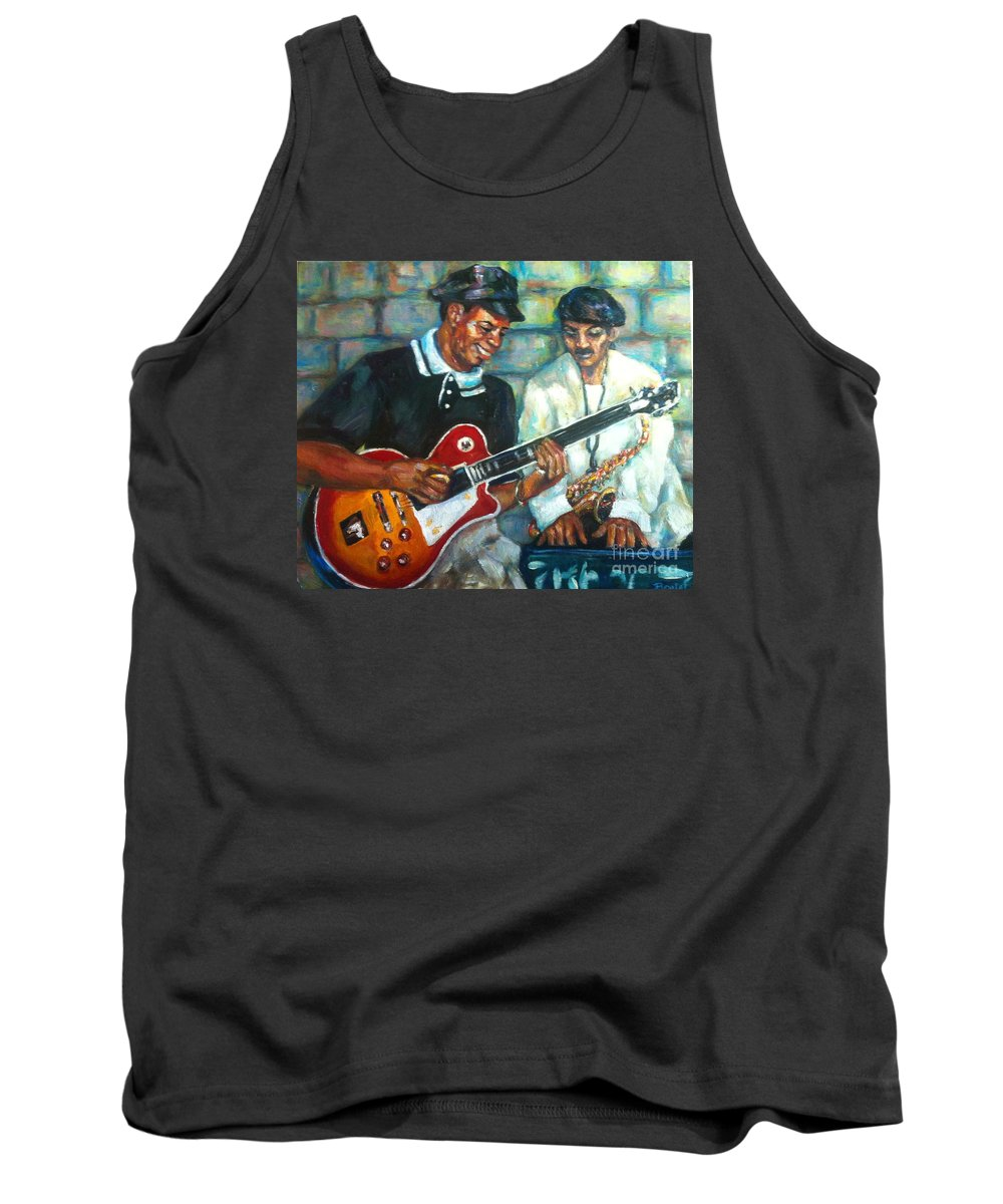 Guitar Tank Top featuring the painting Wolfman by Beverly Boulet