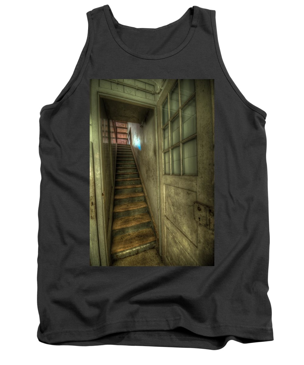 Urbex Tank Top featuring the digital art Wood Door And Stairs by Nathan Wright