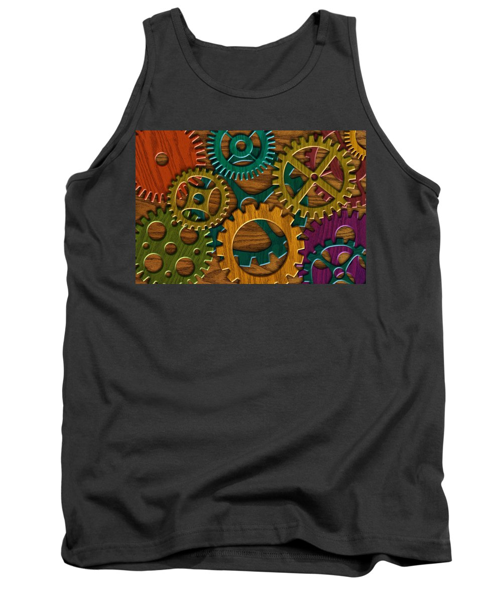 Wood Grain Tank Top featuring the photograph Wooden Gears On Wood Grain Texture Background by Jit Lim