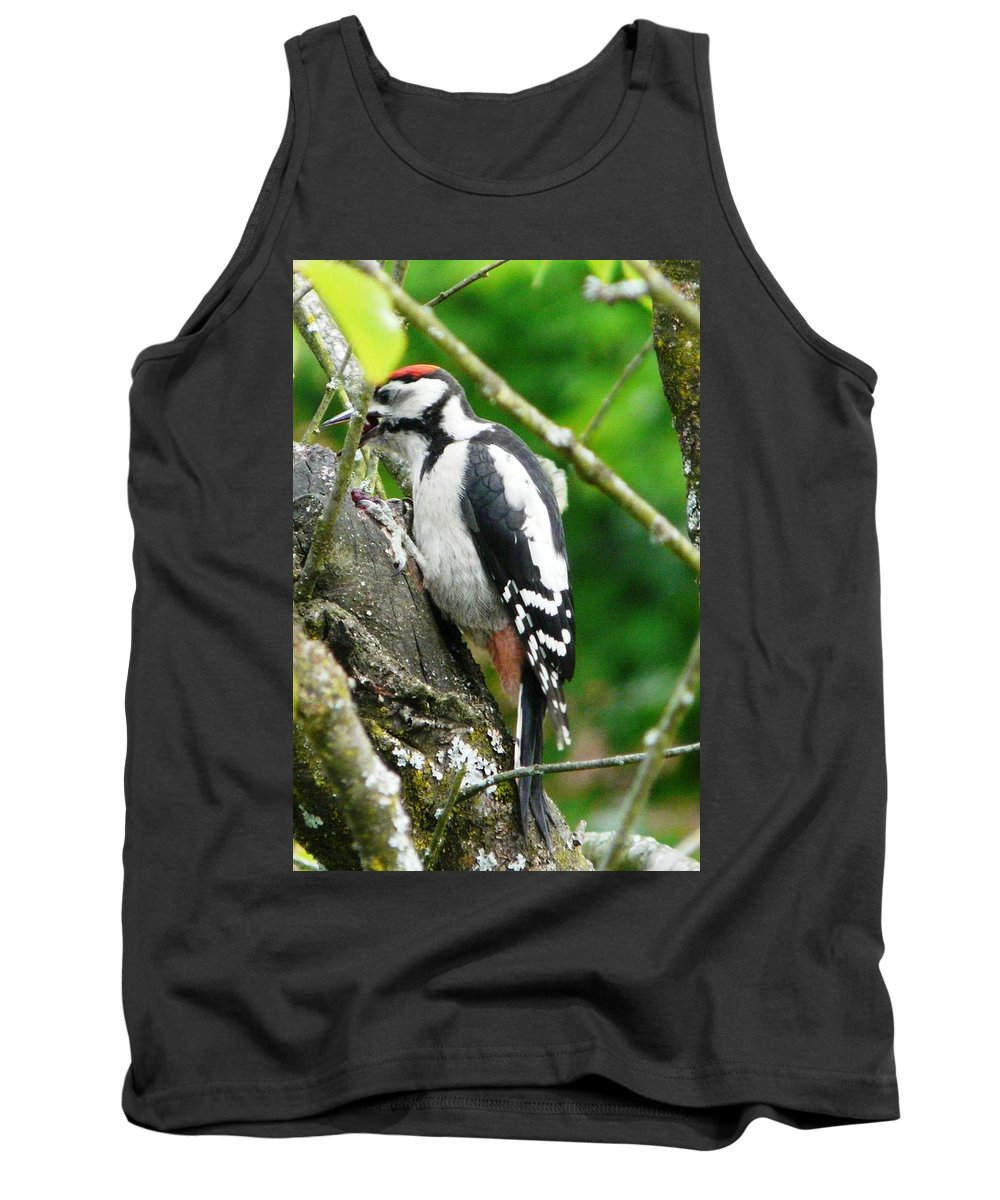 Bird Tank Top featuring the photograph Woodpecker Swallowing A Cherry by Valerie Ornstein
