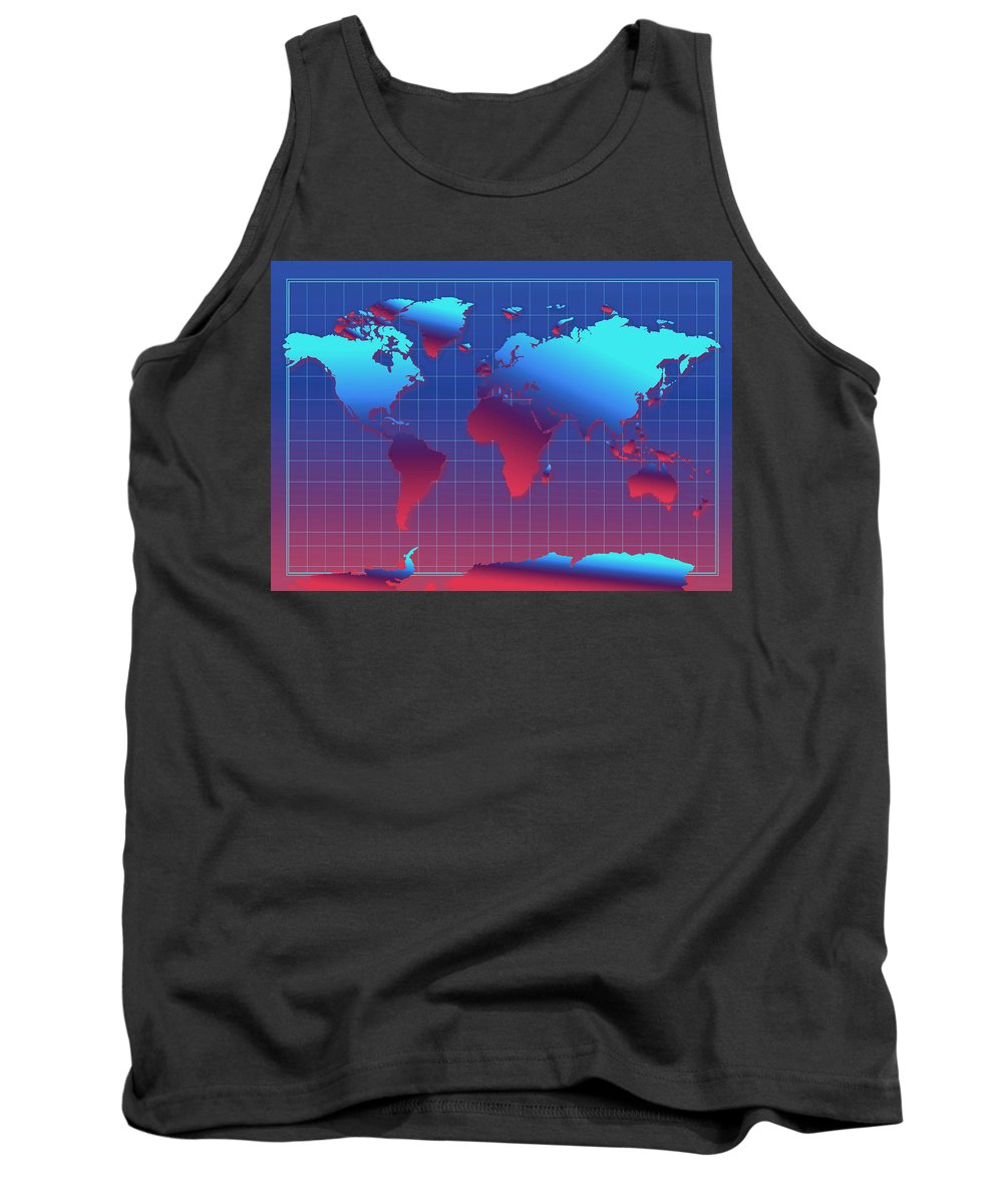 Map Of The World Tank Top featuring the painting World Map In Blue by Bekim Art