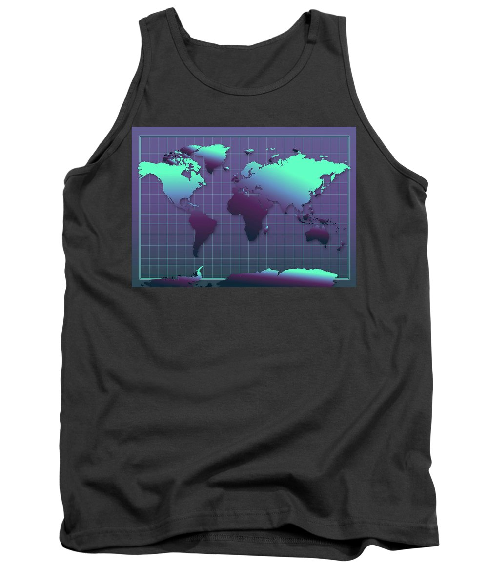 Map Of The World Tank Top featuring the painting World Map In Dark Green by Bekim Art