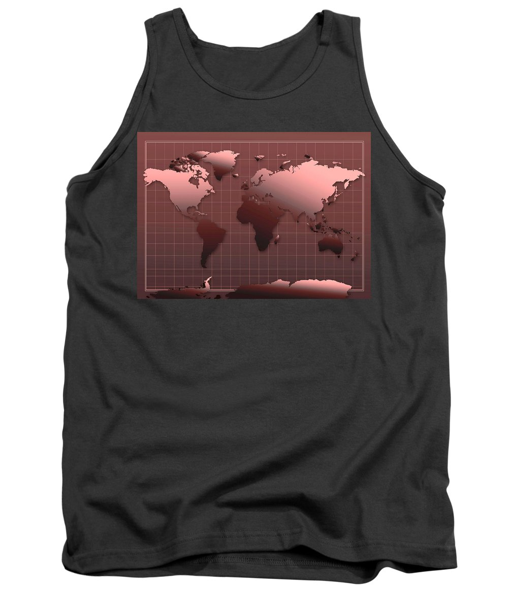 Map Of The World Tank Top featuring the painting World Map In Dark Red by Bekim Art