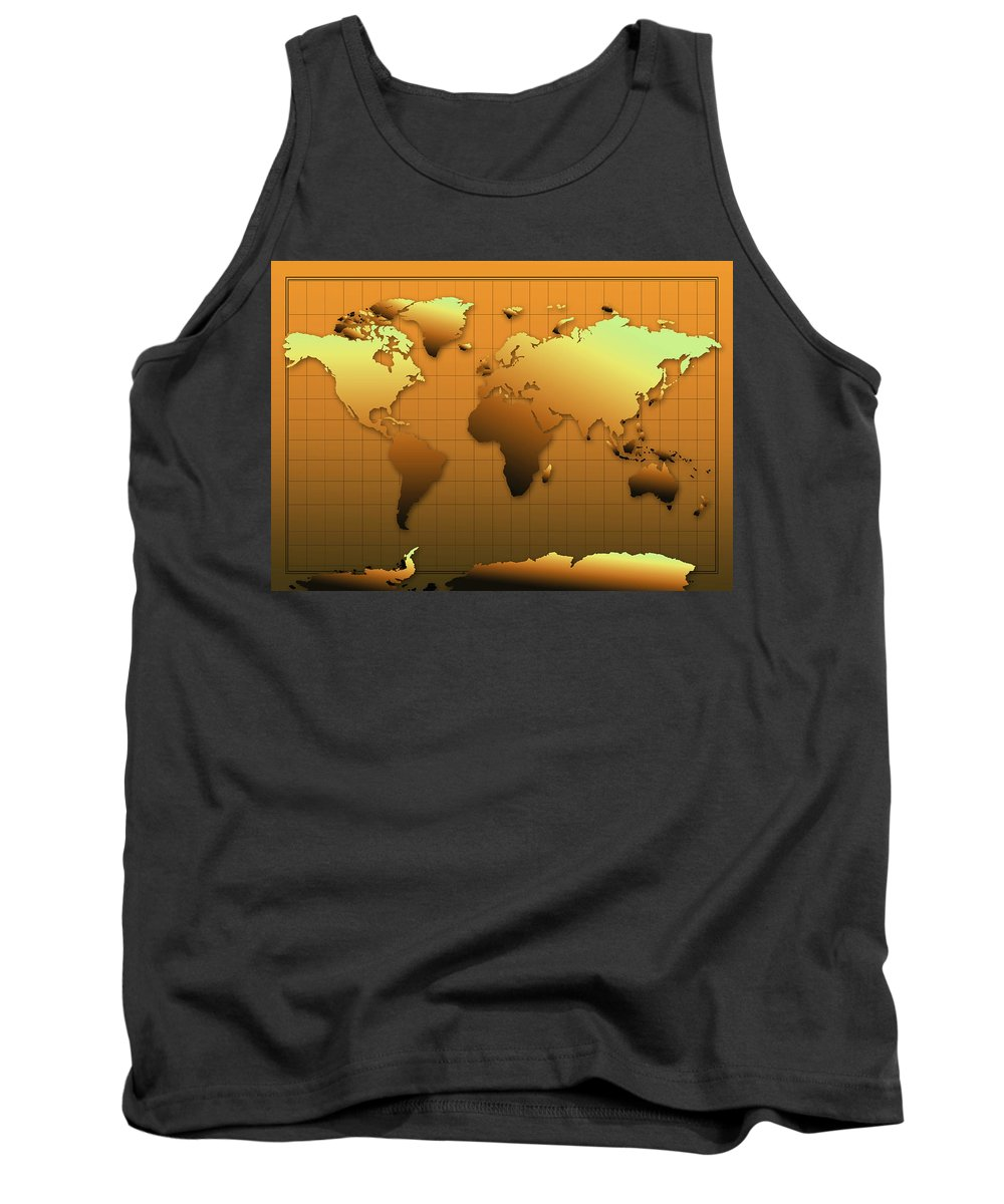 Map Of The World Tank Top featuring the painting World Map In Gold by Bekim Art