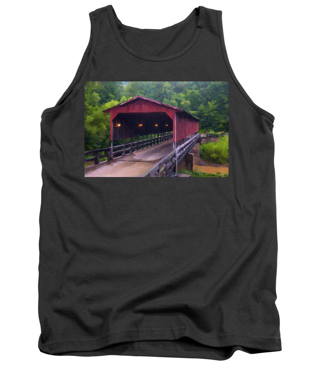 Covered Bridge Tank Top featuring the digital art Wv Covered Bridge by Chris Flees