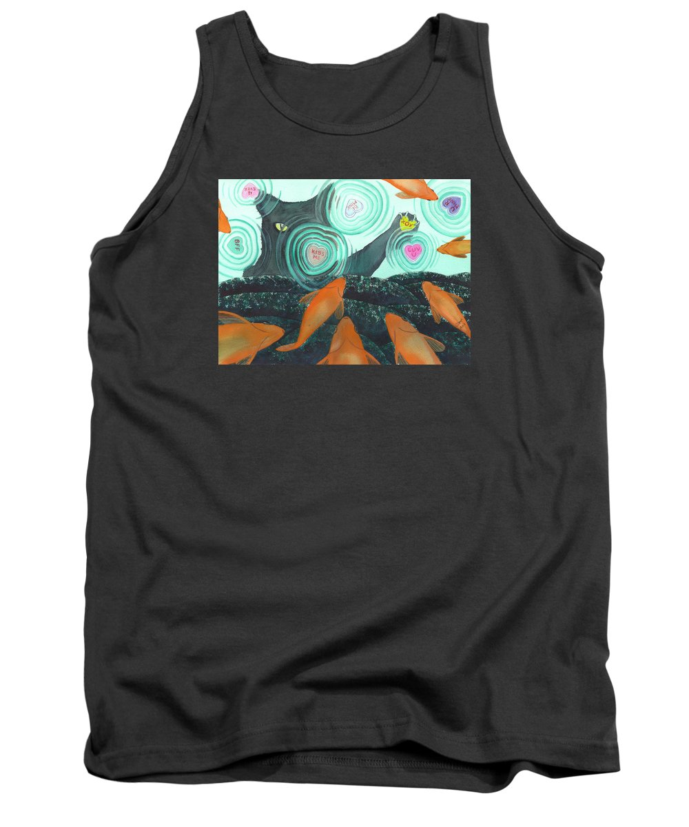 Cat Tank Top featuring the painting XOX by Catherine G McElroy