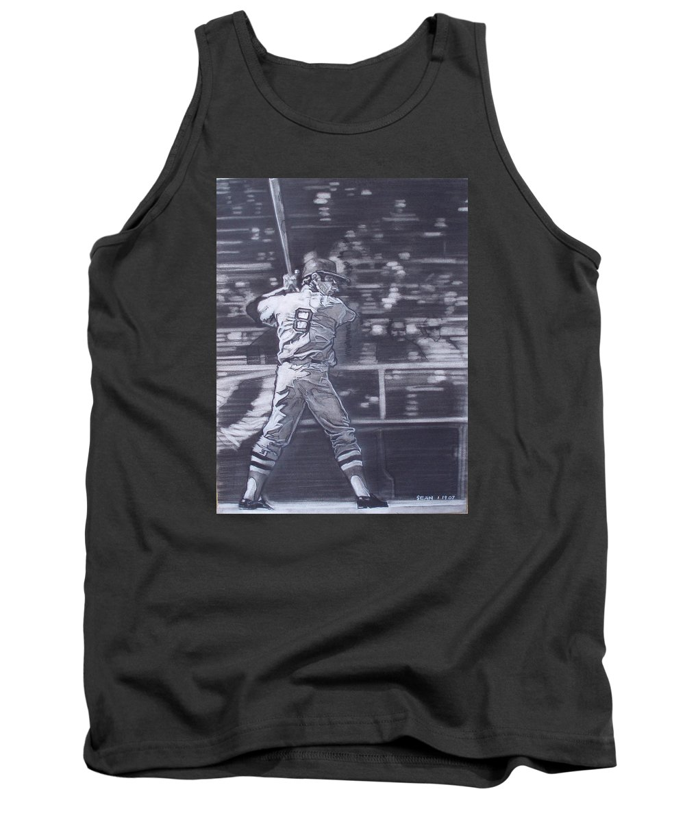Charcoal Tank Top featuring the drawing Yaz - Carl Yastrzemski by Sean Connolly