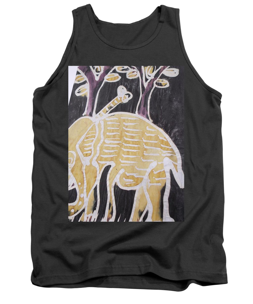 Elephant Tank Top featuring the painting Yellow Brown Elephant In The Bush. by Okunade Olubayo