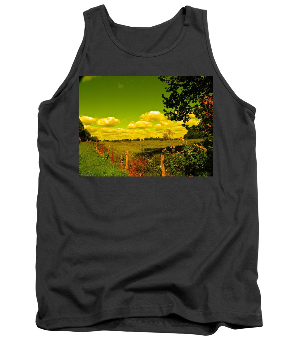 Fence Tank Top featuring the photograph Yellow Fencerow by Nick Kirby