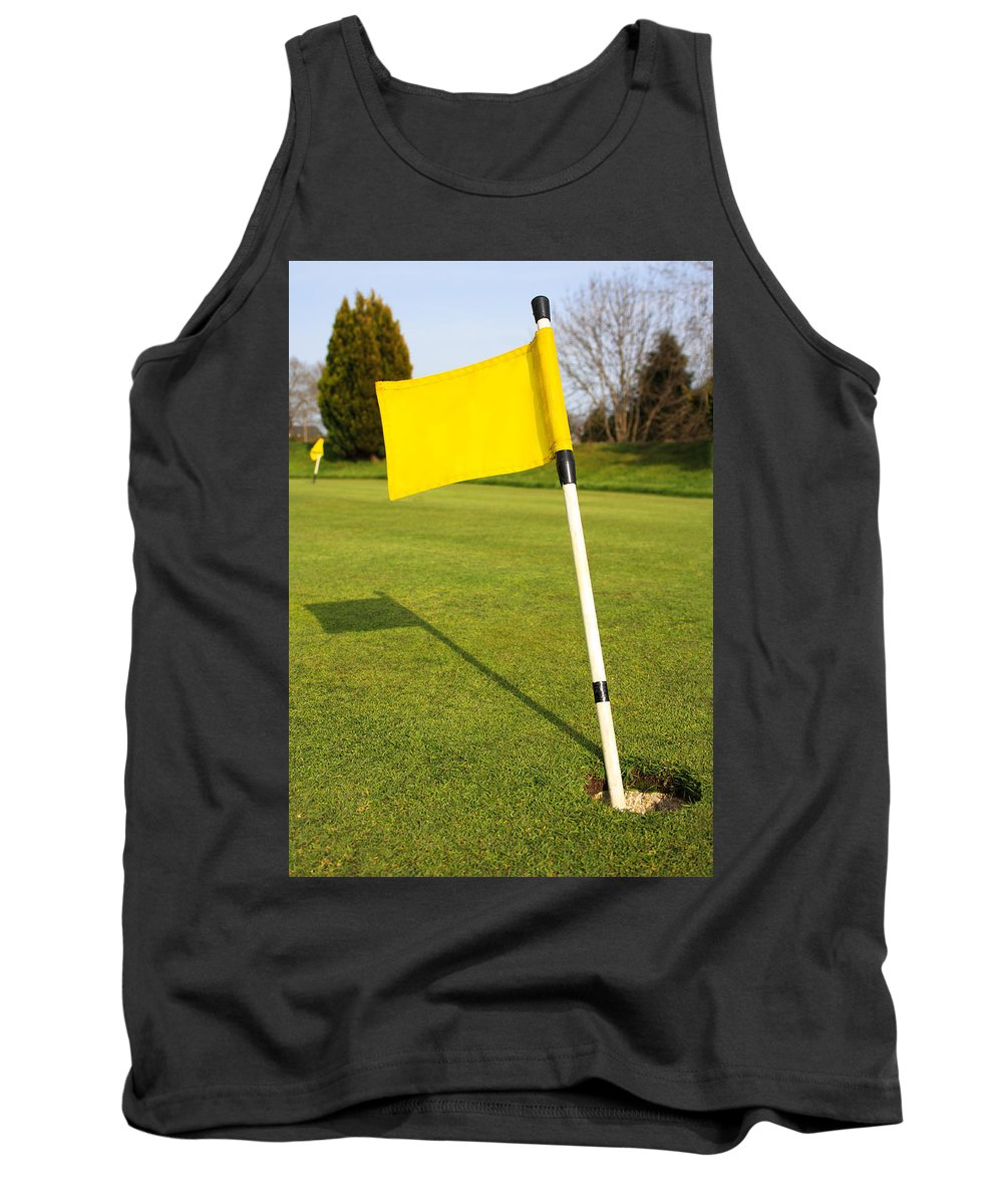 Banner Tank Top featuring the photograph Yellow Flag On The Green by Semmick Photo