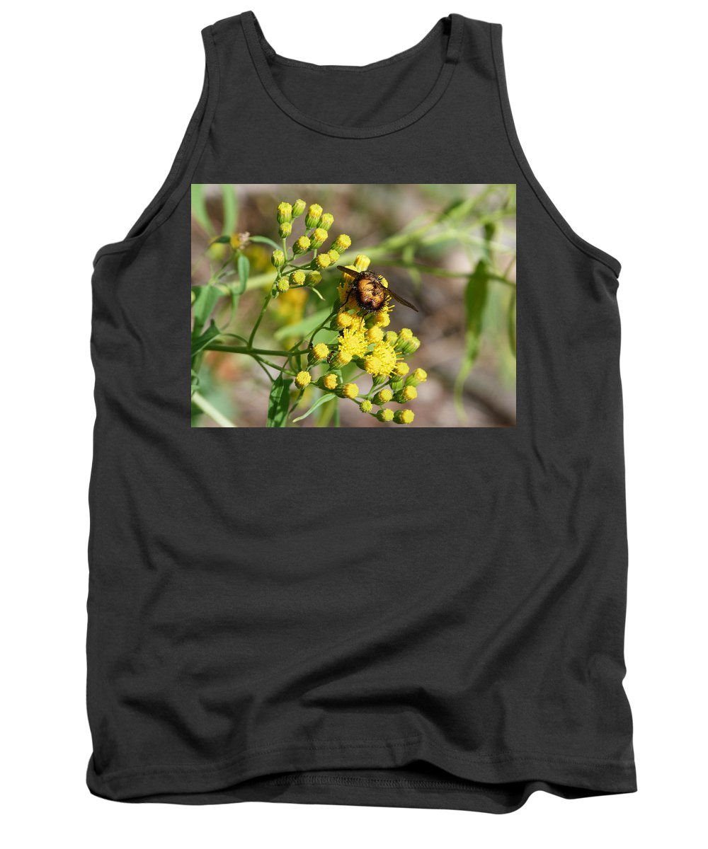 Flower Tank Top featuring the photograph Yellow Flower Bee by Susan Porter