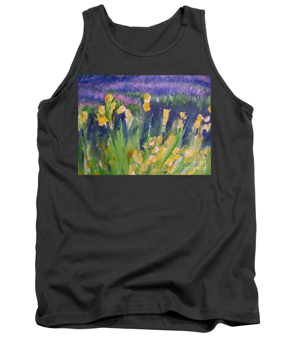 Provence Tank Top featuring the painting Yellow Iris by Eric Schiabor