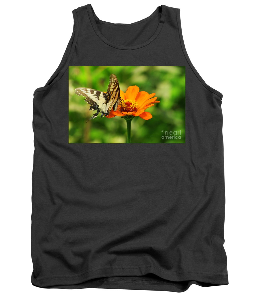 Yellow Swallowtail Butterfly Tank Top featuring the photograph Yellow Swallowtail by Kitrina Arbuckle