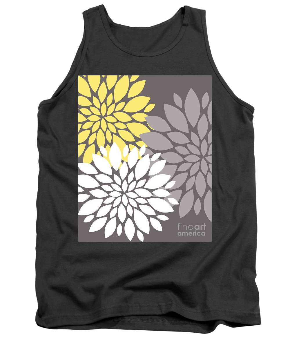 Yellow Tank Top featuring the digital art Yellow White Grey Peony Flowers by Voros Edit