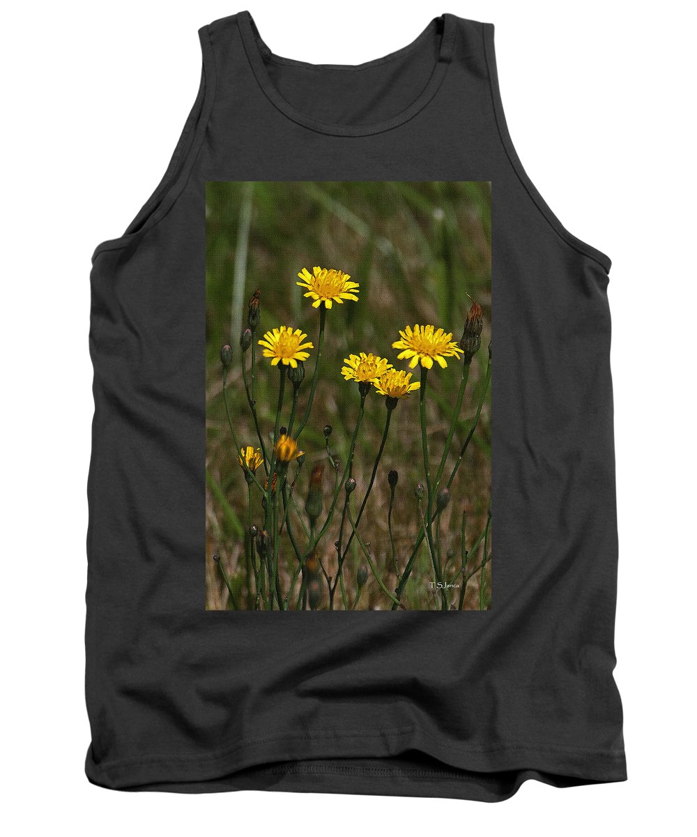 Yellow Wildflowers Along The Chehalis Trail Tank Top featuring the photograph Yellow Wild Flowers Along The Chehalis Trail by Tom Janca