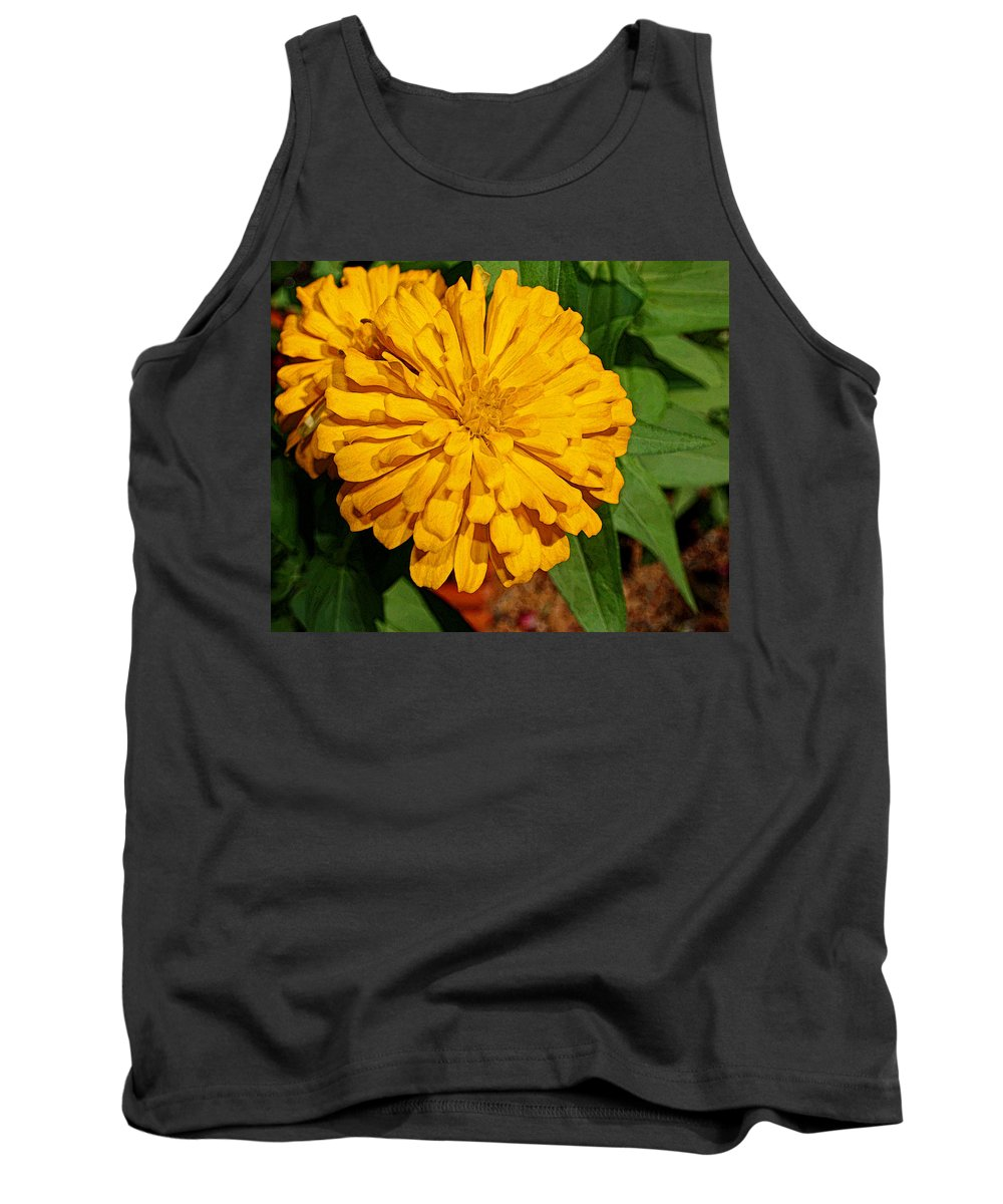 Zinnia Tank Top featuring the photograph Yellow Zinnia by Judy Vincent