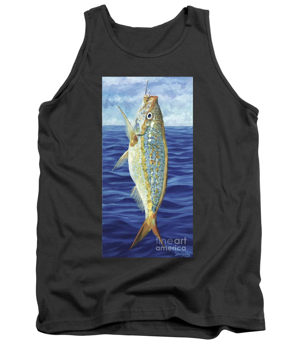 Snapper Tank Top featuring the painting Yellowtail On The Menu by Danielle Perry