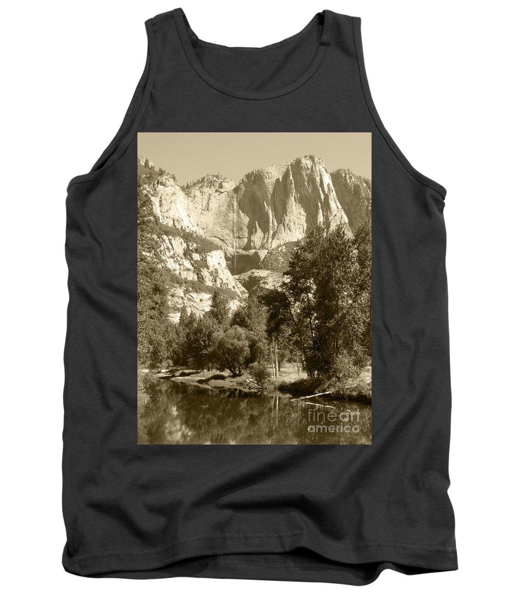 Yosemite National Park Tank Top featuring the photograph Yosemite Falls Sepia by Mini Arora