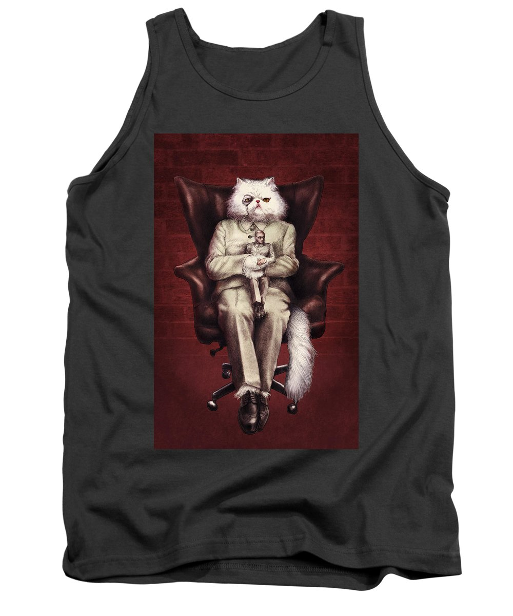 007 Tank Top featuring the drawing You Only Live Nine Times by Eric Fan
