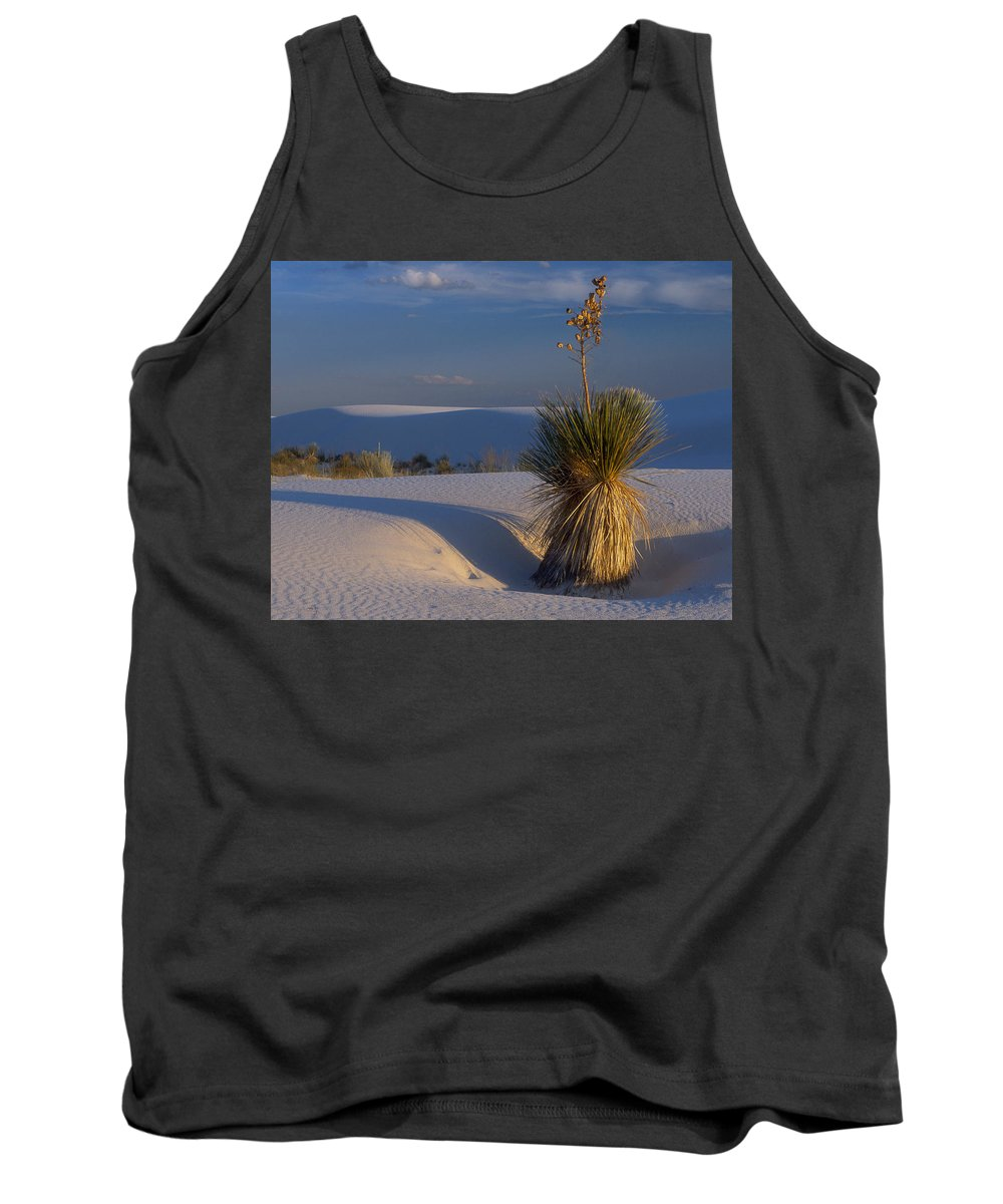 Yucca Tank Top featuring the photograph Yucca At White Sands by Dave Mills