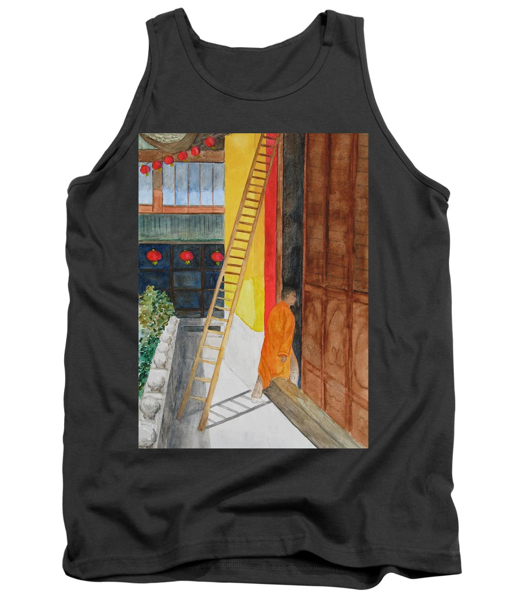 Yufo Si (jade Buddha) Temple Tank Top featuring the painting Yufo Si Temple by Patricia Beebe