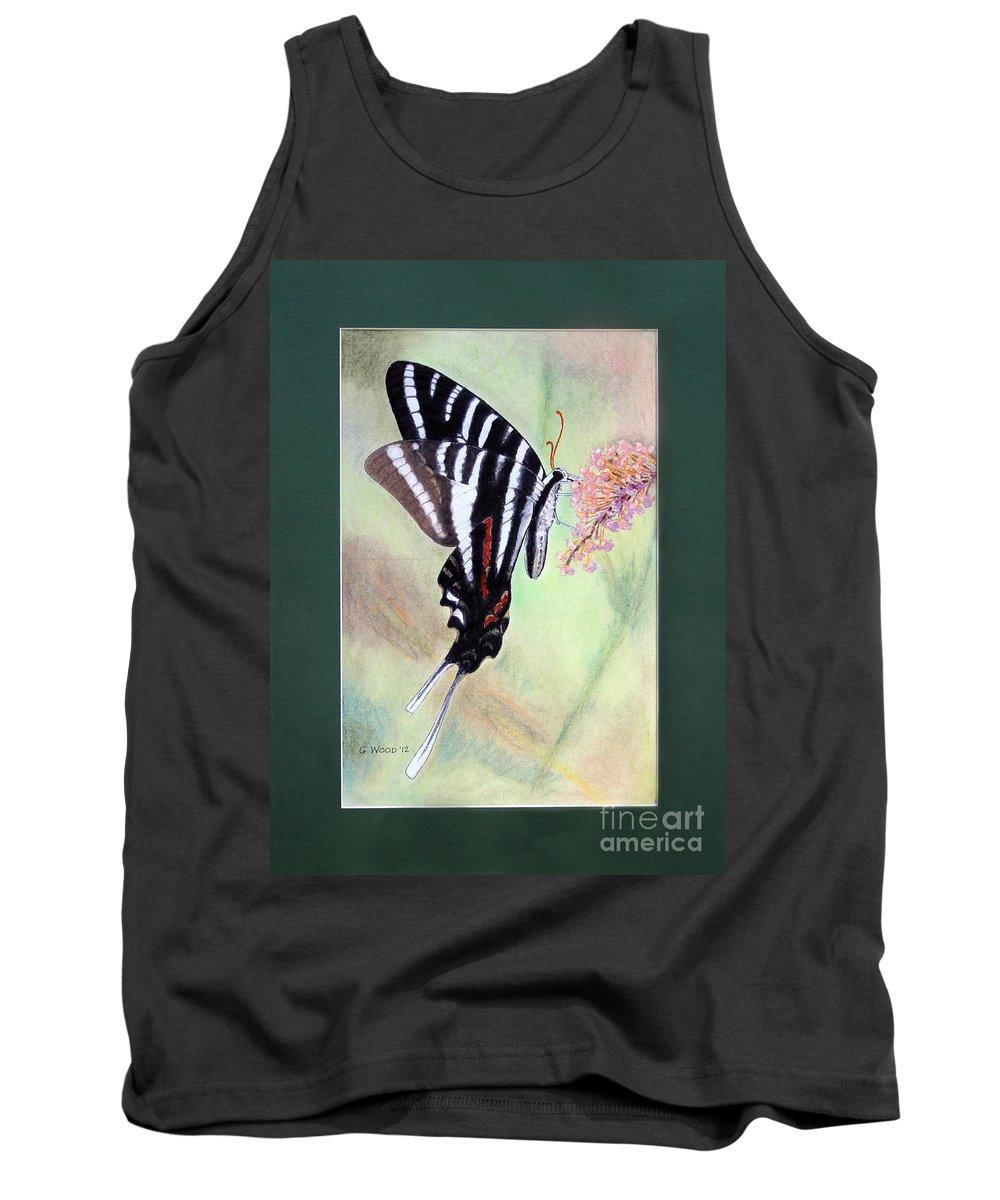 Zebra Swallowtail Butterfly Tank Top featuring the photograph Zebra Swallowtail Butterfly By George Wood by Karen Adams