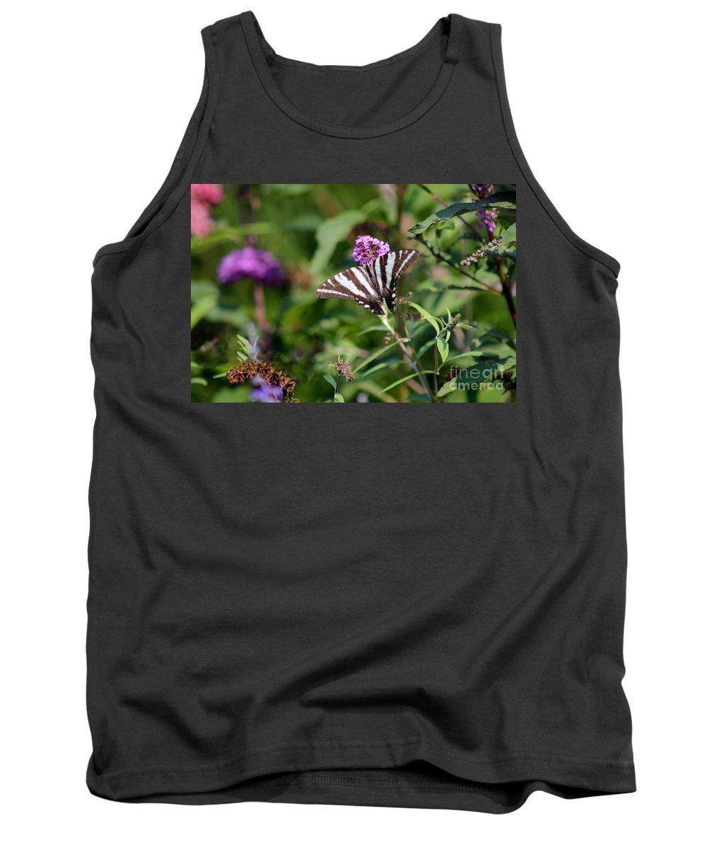 Zebra Tank Top featuring the photograph Zebra Swallowtail Butterfly In Garden by Karen Adams