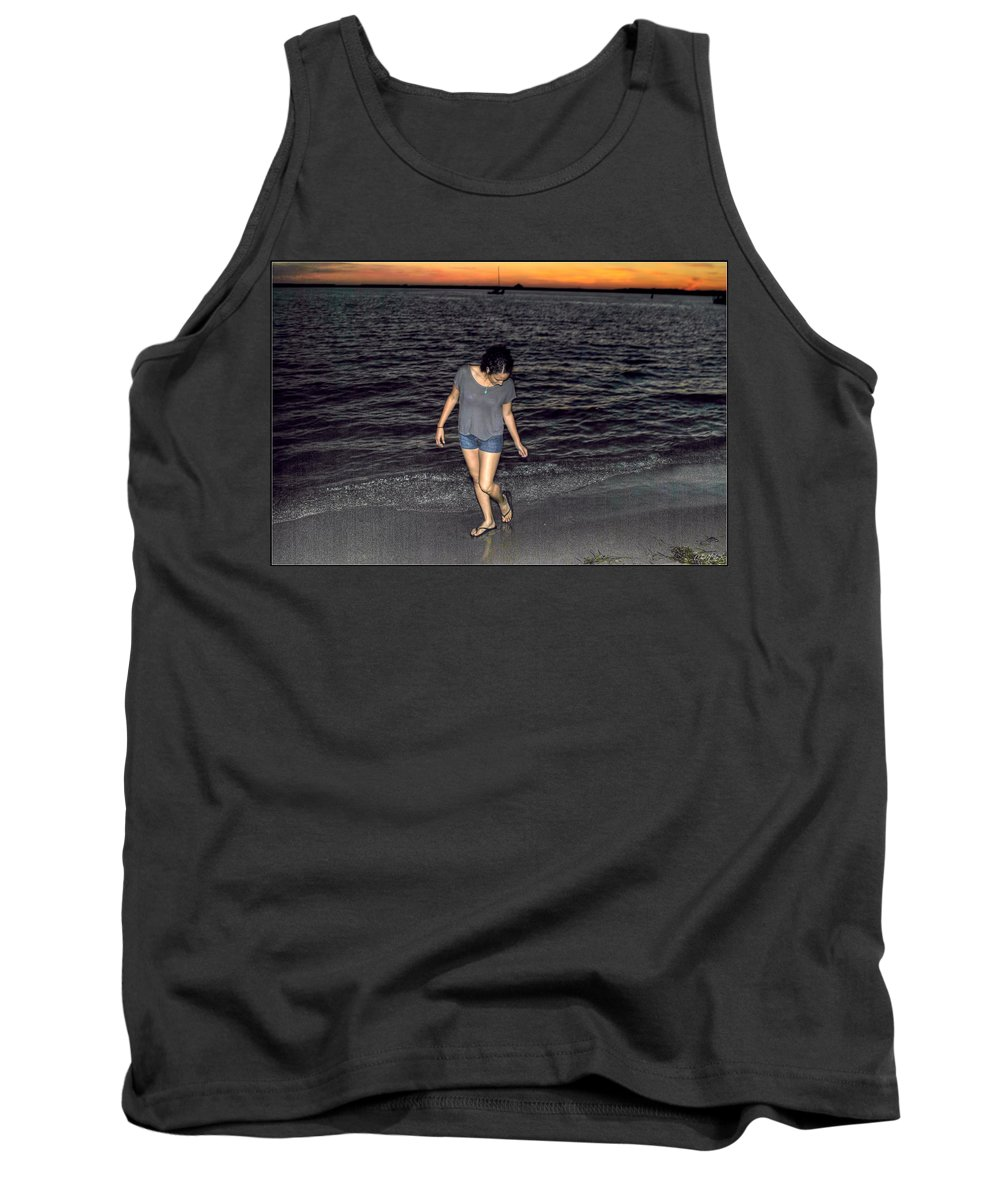 Tank Top featuring the photograph 008 A Sunset With Eyes That Smile Soothing Sounds Of Waves For Miles Portrait Series by Michael Frank Jr