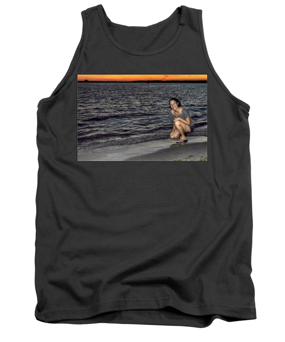 Tank Top featuring the photograph 009 A Sunset With Eyes That Smile Soothing Sounds Of Waves For Miles Portrait Series by Michael Frank Jr
