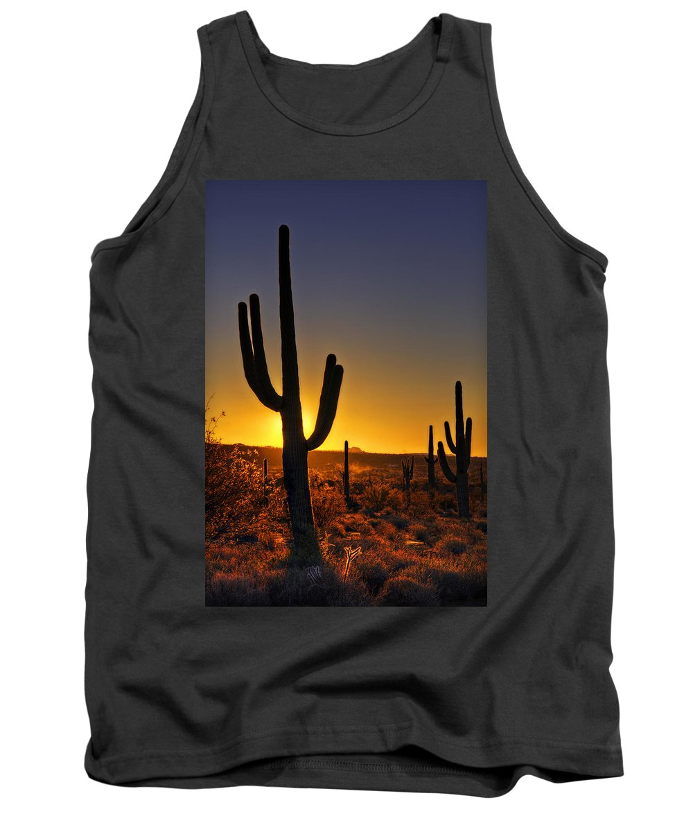 Sunrise Tank Top featuring the photograph A Saguaro Sunrise by Saija Lehtonen