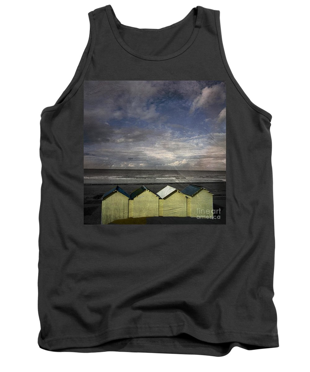 Yellowed Tank Top featuring the photograph Beach Huts Under A Stormy Sky Vintage-look. Normandy. France by Bernard Jaubert