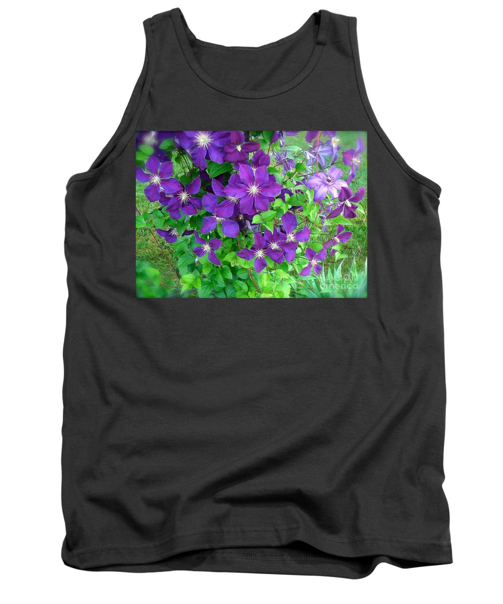 Purple Clematis Tank Top featuring the photograph Clematis In Bloom by Nancy Patterson