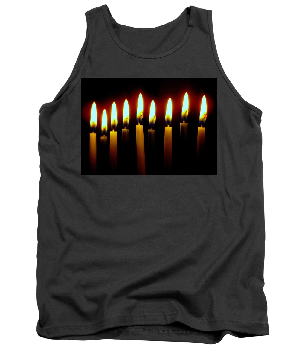 Candles Tank Top featuring the photograph 8 Crazy Nights by Lori Pessin Lafargue