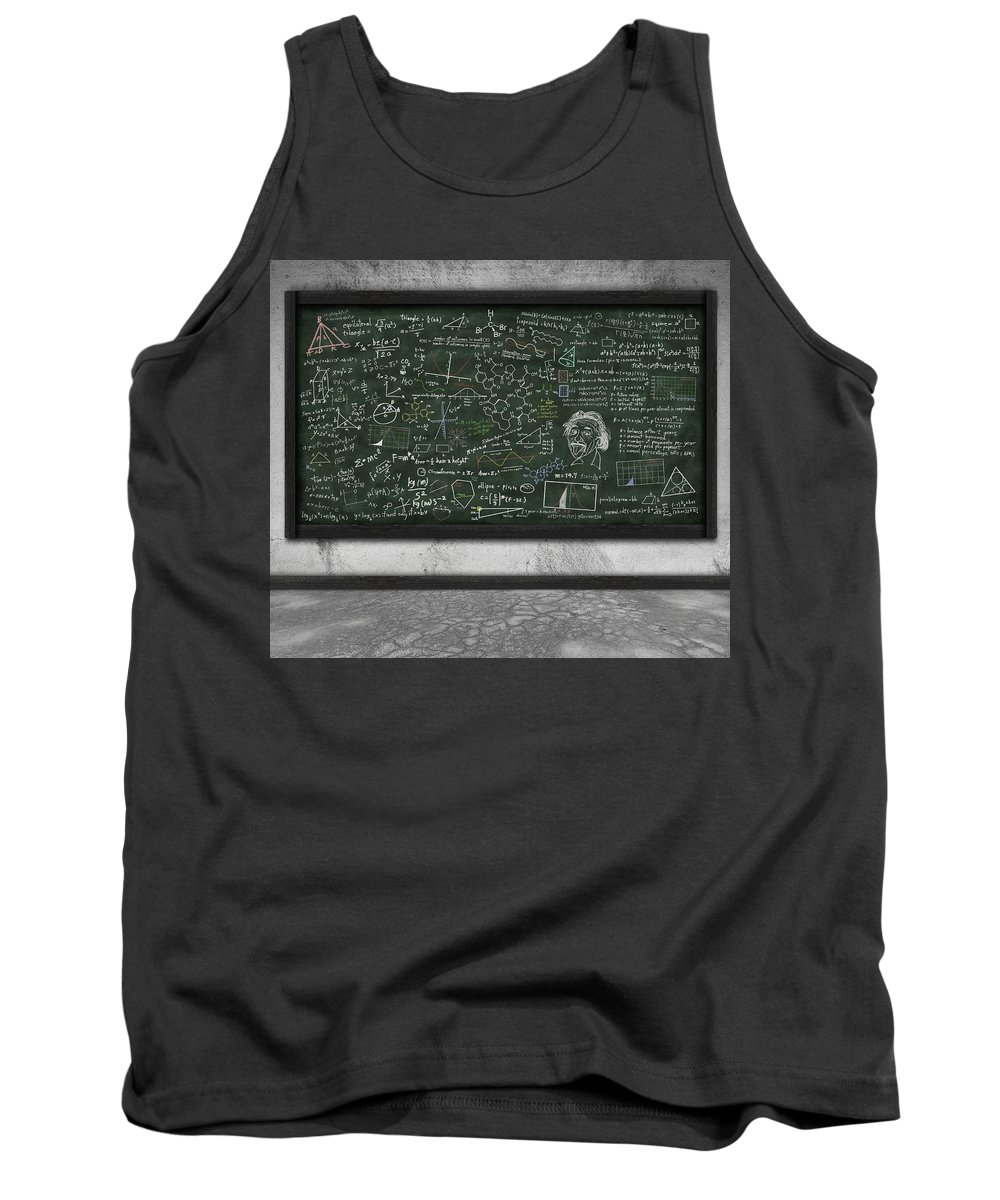 Algebra Tank Top featuring the photograph Maths Formula On Chalkboard by Setsiri Silapasuwanchai