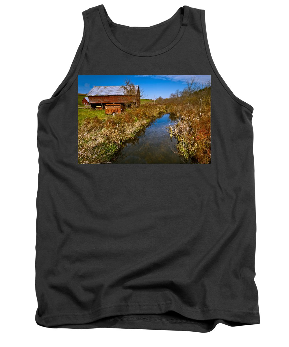 Landscape Tank Top featuring the photograph New England Farm In Autumn Scenery by Jiayin Ma